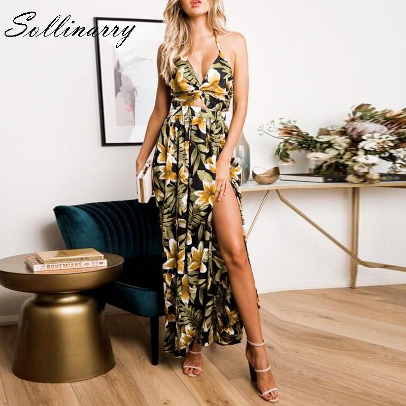 8cf715d4b5 Sollinarry Floral Print Party Maxi Dress Women Backless High Split Sex Spaghetti  Strap Dress Summer V Neck Long Vestidos Teenagers Party Dresses Green ...