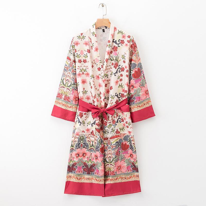 Gürtel Blumendruck Frauen Damen Outwear Kimono Wt212 Taille Lange Schlanke Positionierung Jacke Tops Chic Sommer 5ALRq43j