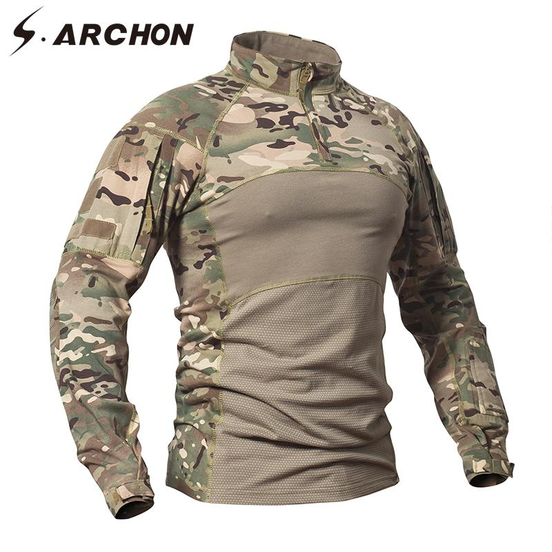 S.ARCHON Tactical Shirts Men Camouflage Combat T Shirt Army Force Battlefield Solider Casual Long Sleeve T Shirts Men