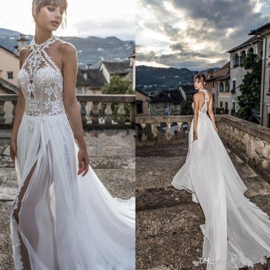 53d4801e9de4 Discount Julie Vino 2019 New High Slits Wedding Dresses Bohemia Sexy Lace  Appliqued Halter Jewel Neck Bridal Gowns Chiffon Beach Wedding Dress Line  Wedding ...