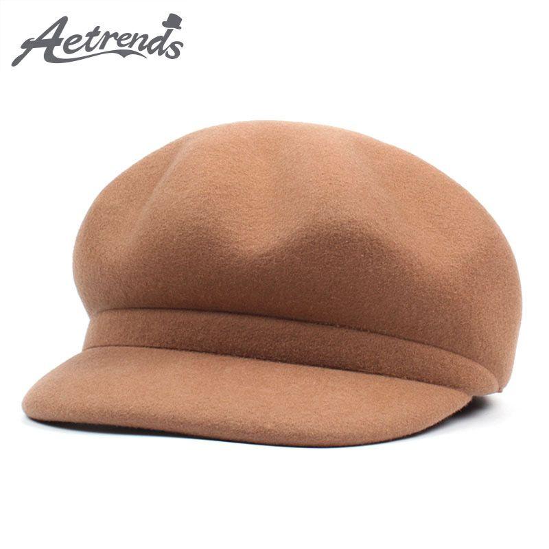 2108c458ec6d [AETRENDS] 7 Sombrero de Lana de Color Sólido Sombrero de Boina Estilo  Británico Formal de Mujer Sombrero de Lana Boinas Gorras Gorra Femenina  plana ...