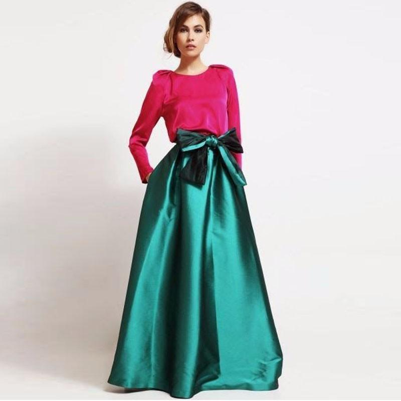 cbbea26d5 Graceful Emerald Green Satén largo Faldas de mujer con elegantes lazos  Cintura alta Invisible Cremallera Longitud del piso Faldas por encargo