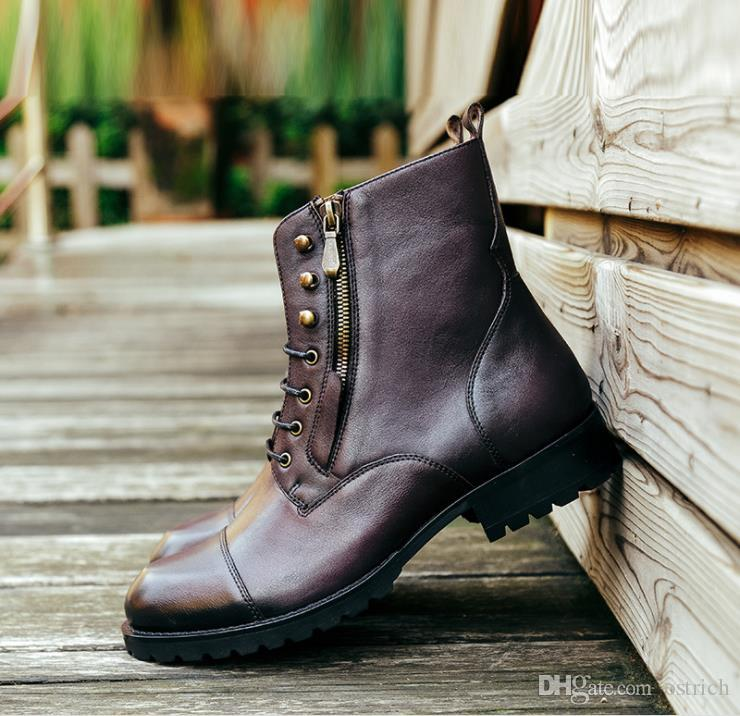 f47b7a1cc9 New Big size Carved Genuine leather Men dress shoes, Mixed colors Martin  boots,High-top boots,British style Handmade shoe Martin boots 105