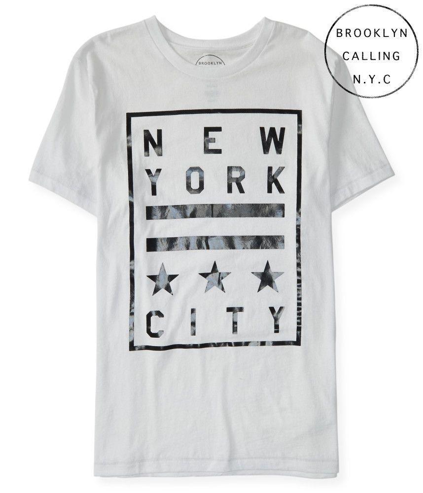 1f69e034e9a SZ L-TALL AEROPOSTALE Men's Brooklyn NYC New York City White Graphic Tee  T-Shirt