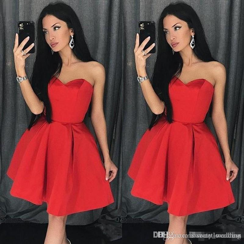 Modest Red short Homecoming dresses With Sweetheart Satin Ruffle Mini Skirt Sexy Cocktail Party Prom Gown Cheap