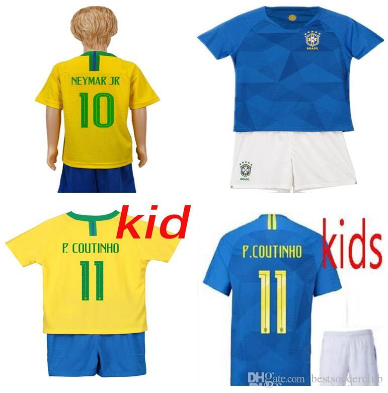 14ddc6661 2019 18 19 Kids KIT Jersey 2018 2019 PELE MARCELO Home Soccer Shirt  Football Uniforms Blue Kits AWAY COUTINHO G.JESUS FIRMINO BOYS KIT From  Bestsoccerclub