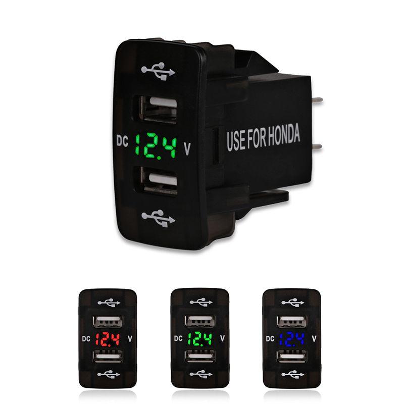 3256c208174 12V 24V 4.2A Dual Usb Car Charger For Honda 2 USB Port Auto Adapter LED  Voltmeter Socket For Honda CIVIC CROSSTOUR CRV ODYSSEY Dual Charger Usb  Dual In Car ...