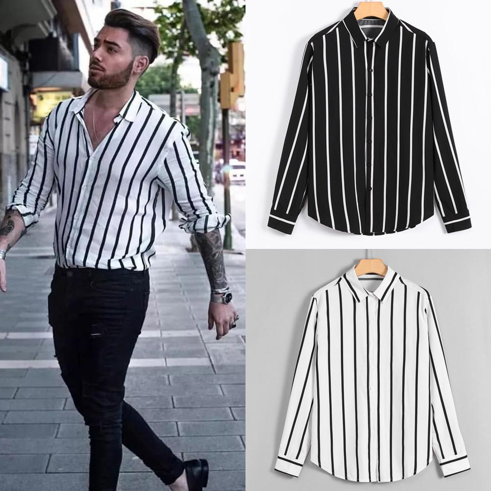 Sleeve Shirts Tops From Camisas Striped Hombres Heren Loose Long Larga Blouse 2019 Casual Summer Classic Mens Mangas Mujing Fashion 8qxwTY4t