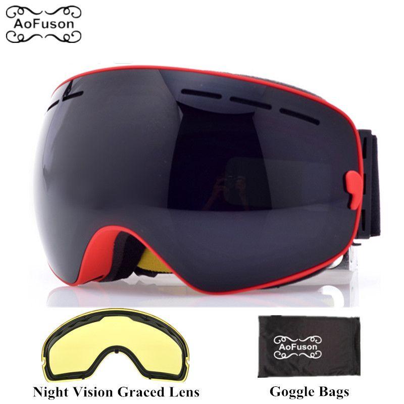 Compre Óculos De Marca De Esqui Snowboard Com Amarelo Lente De Visão  Noturna Dupla Camadas Anti Fog Grande Visão Máscara Esférica Óculos De Esqui  De Inverno ... d7c5f62a69