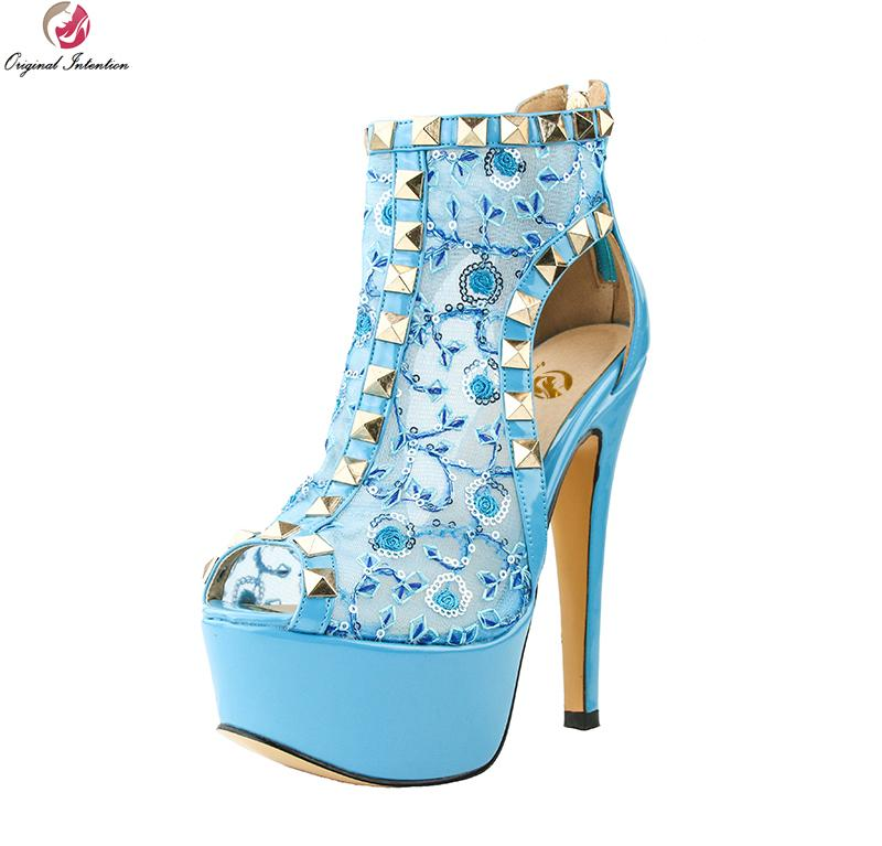 Original Intention Super Elegant Women Sandals Gorgeous Glitter Peep Toe  Thin Heels Fashion Blue Shoes Woman Plus US Size 4 15 Sandals For Men Jelly  Sandals ... 8a7584518262