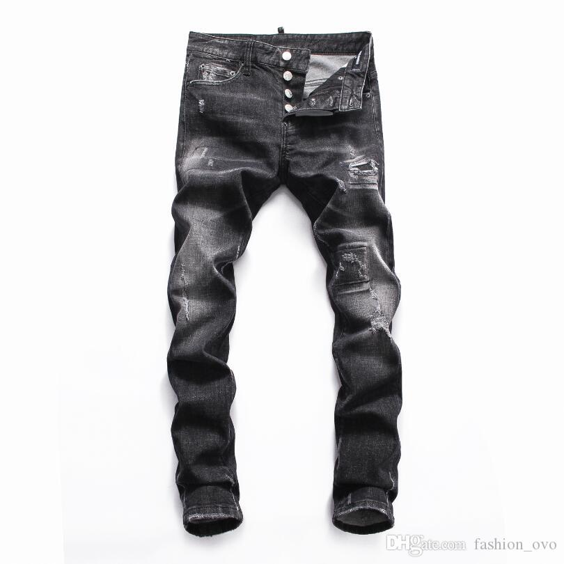 2019 DSQUARED2 DSQ D2 DSQUARED 2 Men Ripped Slim Hole Jeans Fashion  Designer Straight Motorcycle Biker Jeans Causal Denim Pants Mens Cool 8062  From ... 2960b7302f49