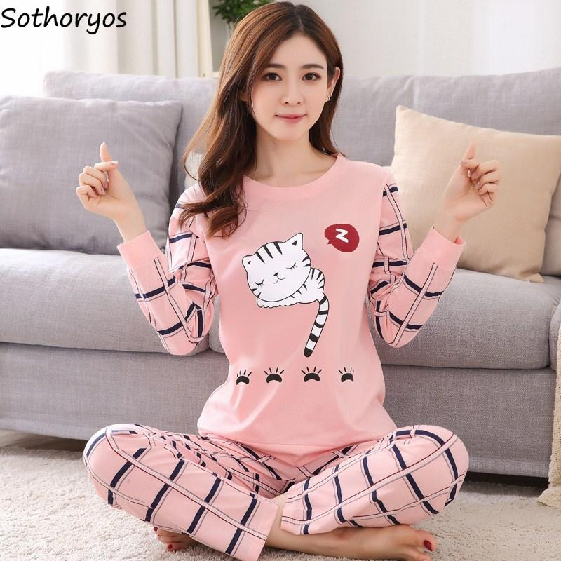 Pajamas Sets Women O Neck Cartoon Printing Kawaii Cotton Sleepwear Pajamas  Womens Winter Soft Korean Homewear Cute Set UK 2019 From Cansou 4d37f4e3c