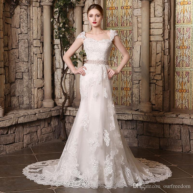 2019 Lace Wedding Dresses Sheath Bridal Gown With Sweetheart Sheer Back Covered Button Ivory Blush Sashes Court Train Custom Made