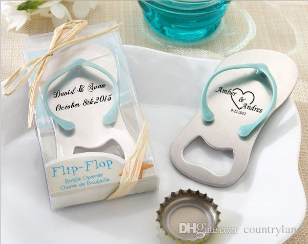 Personalized Guest gift of wedding favors and giveaways--Groom and Bride name show on the Top Flip-Flop Bottle Opener 100pcs/lot 20170120#