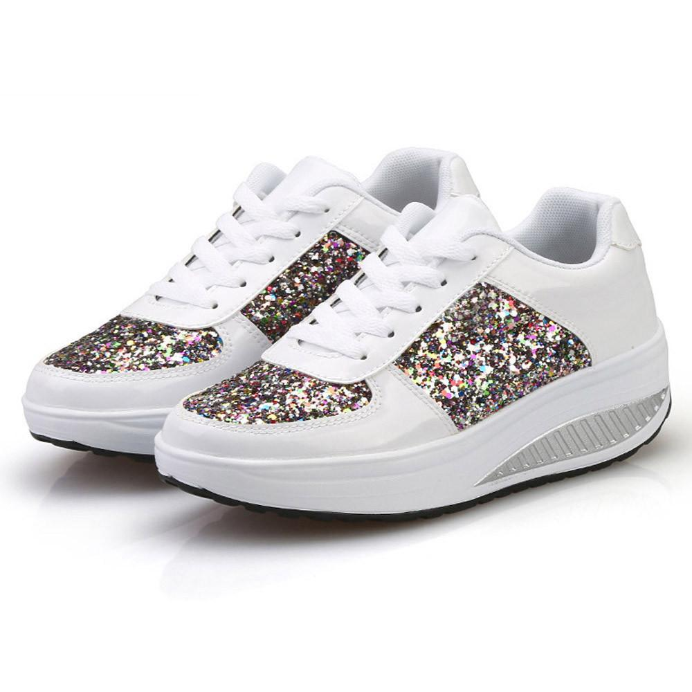 e92ea8541030 Cagace Women's Ladies Wedges Sneakers Sequins Shake Shoes Lady 2019 Shoes  Fashion Girls Sport Shoes Size35-41