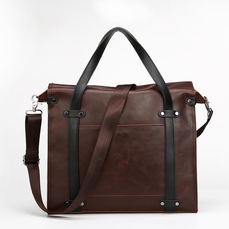 2019 Crazy Horse Leather Men s Briefcase Vintage Shoulder Bag Men ... f3012a9289