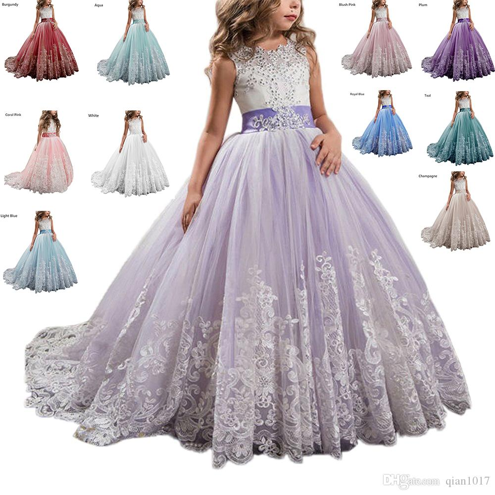 439a766acdd Acheter Princesse Robe De Fille De Fleur Enfants Robes De Bal Pageant De   75.38 Du Qian1017