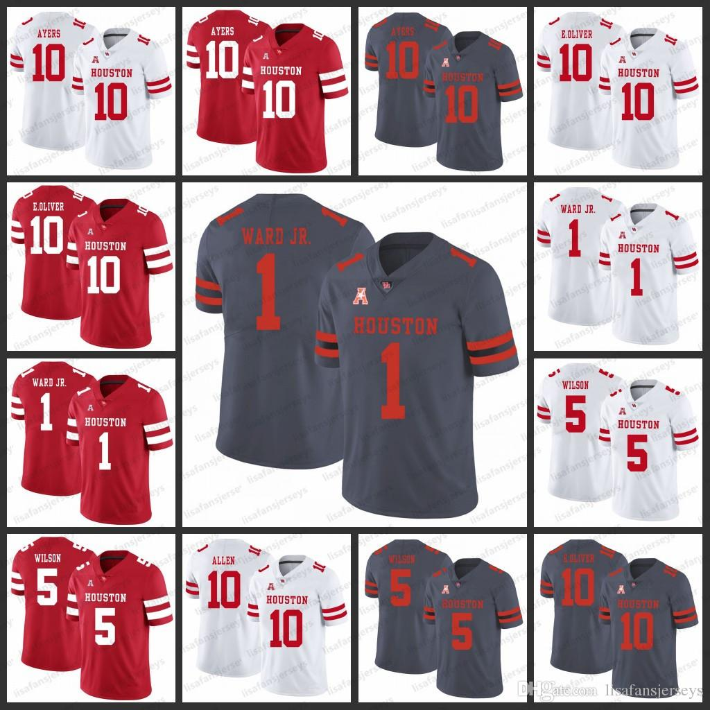 online store 9461c 6e3de Houston Cougars College Jerseys 10 Demarcus Ayers Ed Oliver 10 Greg Ward  Jr. Kyle Allen 5 Howard Wilson NCAA College Football Jersey