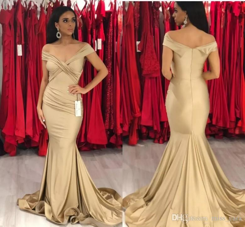 Sexy Off Shoulder Gold Prom Dresses Mermaid Simple Pleats Floor
