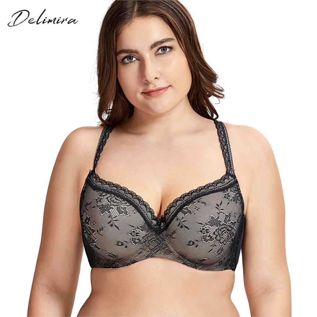 4689208ba4eae 2019 DELIMIRA Women S Full Coverage Lightly Padded Underwire Balconette  Lace Bra From Jiuwocute