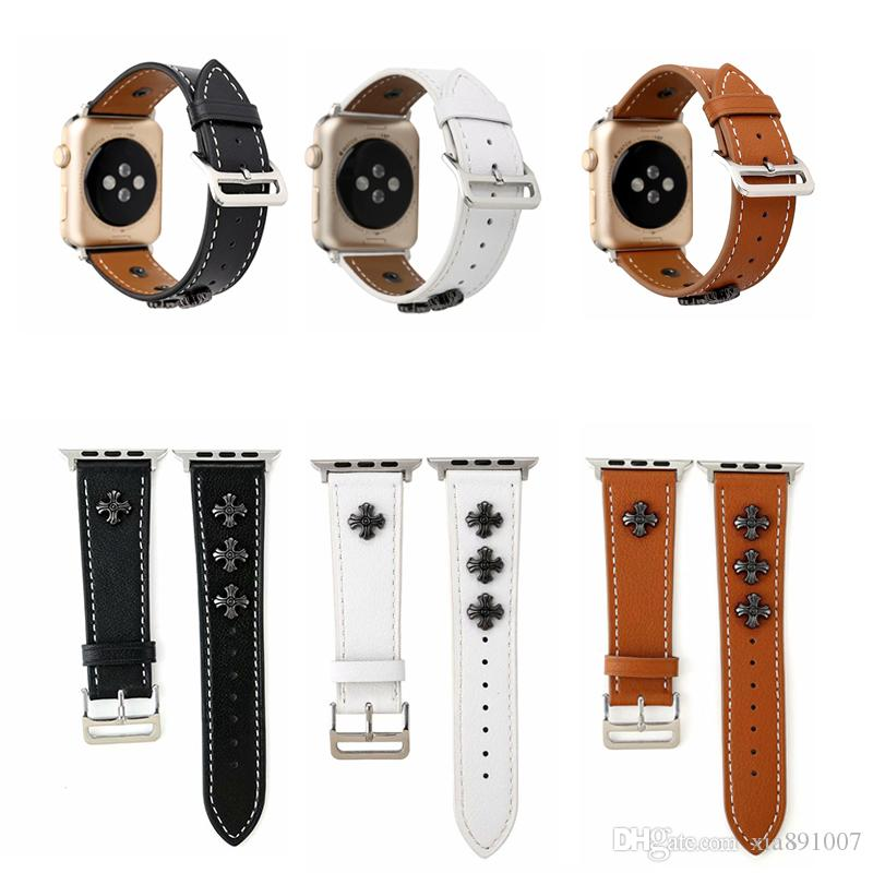 iwatch Watchbands Genuine Leather Watch Strap Buckle For Apple Smart Watch Bands 38mm 42mm Replacement Designer Wrist Bracelet Strap