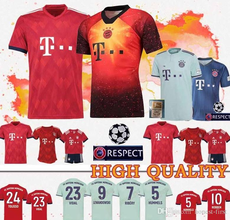 the best attitude 0b3cb fd969 New Bayern Munich soccer jersey 2019 Müller RIBERY ROBBEN LEWANDOWSKI  football shirts Bayern Munich football uniforms WOMEN man Kids Kits