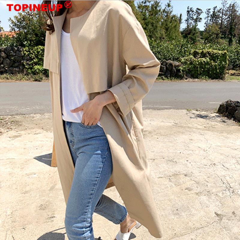 Loose Cardigan Cotton And Linen Sun Protection Trench Coat For Women Medium Long Clothing Loose Casual Plus Size Over Knee Coats