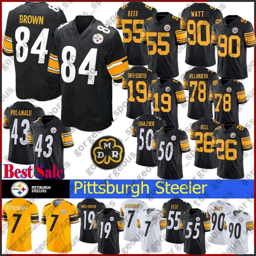 official photos 64e6e 2e218 55 Devin Bush Pittsburgh Jersey Steelers 19 Juju Smith-Schuster 7 Ben  Roethlisberger 90 T.J. Watt 30 James Connererseys Stitched jerseys top