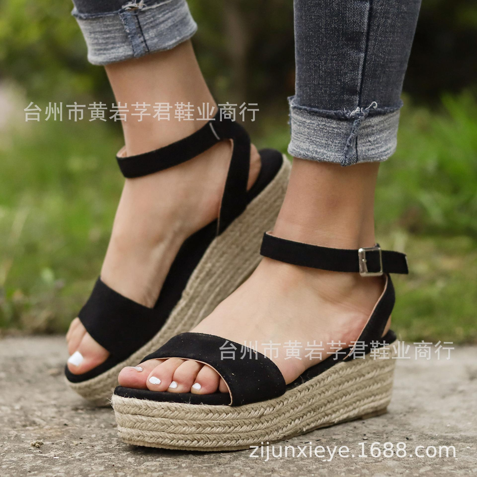 3860e362f3aae 2019 Wish Amazon Express Sales New Explosion Leopard Linen Slope and Light  sole Fishmouth Sandals for European and American Foreign Trade
