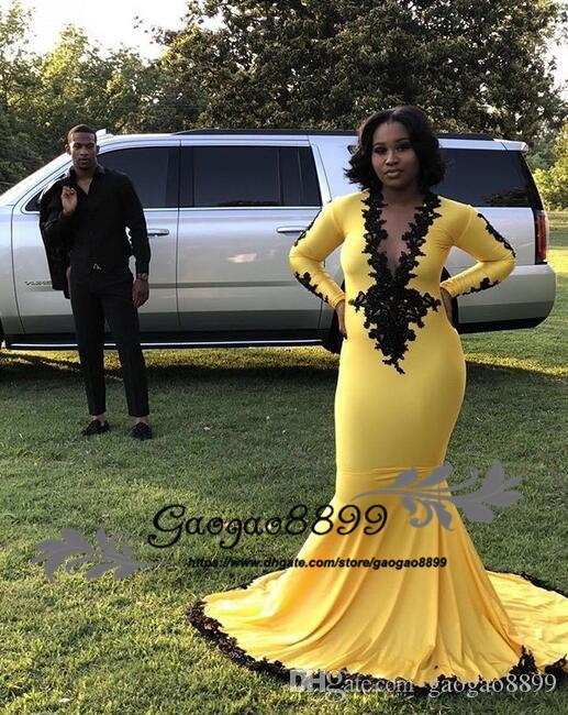 89b3e005663 Gorgeous 2k19 Yellow Mermaid Prom Dresses Sexy Evening Gowns Long Sleeves  With Black Lace South African Custom Made Formal Party Dress Midi Party  Dresses Uk ...