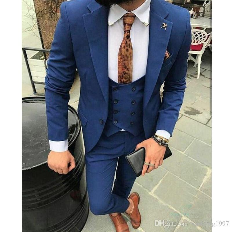 d2541d59f Slim Fit Navy Blue Wedding Men Suits 2019 Notched Lapel Three Piece Double  Breasted Vest Jacket Pants Tailed Made Blazer