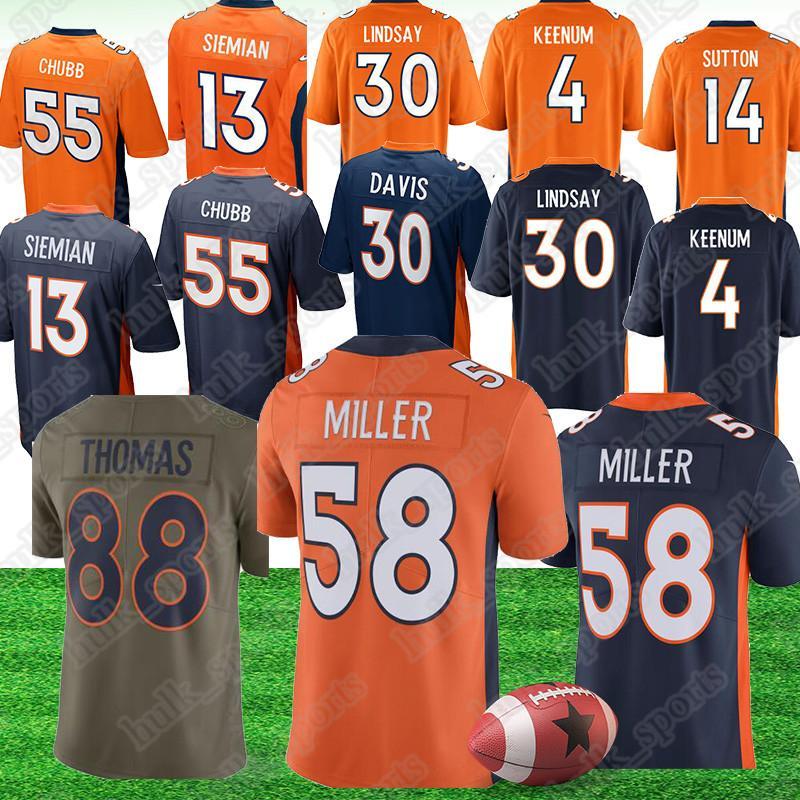 super popular f49f3 e441a Denver 30 Phillip Lindsay Bronco jerseys 30 Terrell Davis 58 Von Miller  jerseys 14 Courtland Sutton 4 Case Keenum american football jerseys