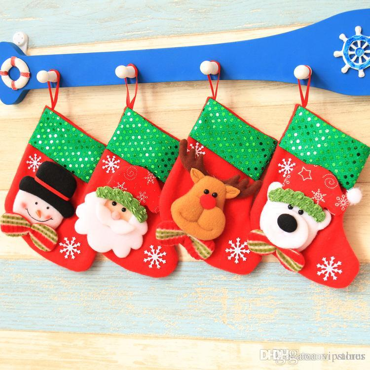 New Year Xmas socks candy gift Xmas tree decoration hanging bag Christmas ornament santa snowman reindeer stocking