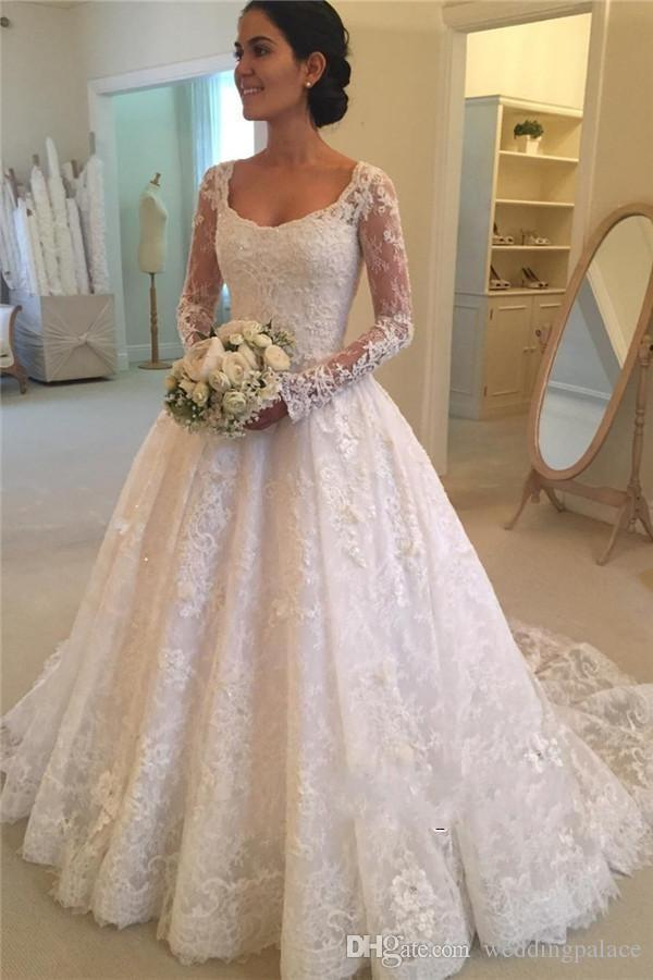 6f672c0d581 Scoop Neck A Line Vintage Lace Wedding Dresses With Long Sleeves on Back  Appliques Beaded Bridal