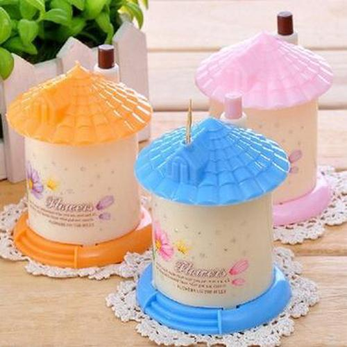 New 1pc Plastic House Shape Automatic Toothpick Holder dispenser Box