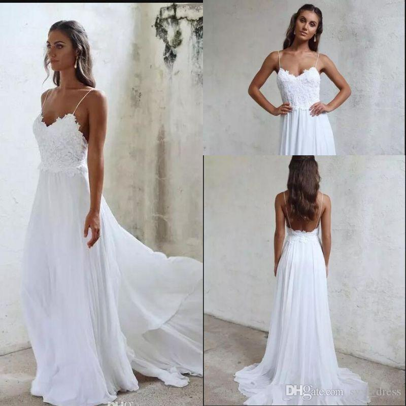 64dfcb0d66751 Discount 2019 Cheap Plus Size Modest Chic Bohemian Spring Summer Beach  Wedding Dresses Abendkleider Lace Chiffon Bridal Gowns Vestido De Novia  Perfect ...