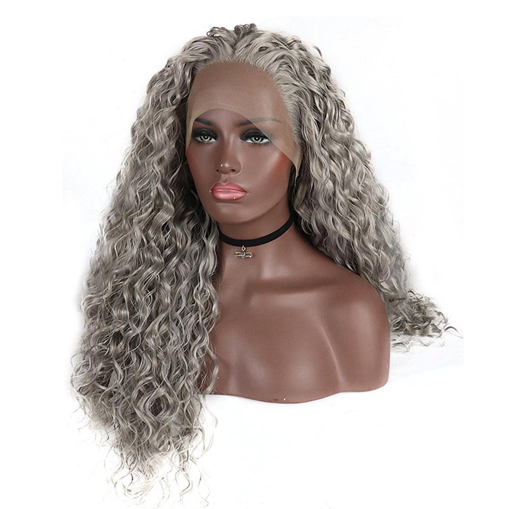 Synthetic Lace Front Wigs For Black Women Silver Grey Hair Heat Resistant Fiber Long Bohemian Curly Frontal Lace Wig Y190717