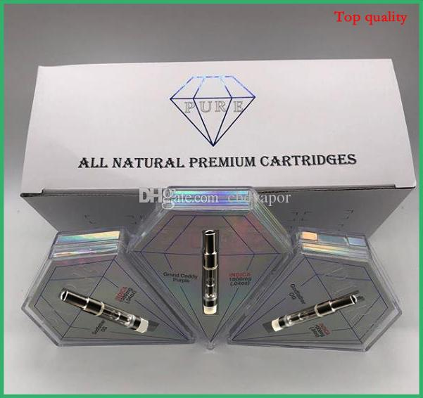 Diamond Shape Box Pure Atomizer Vape Tank Glass Cartridge Ceramic Carts 0.8ml Vaporizer Pens for Thick Oil DHL