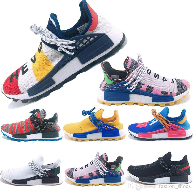 120b98e14 2019 Cheap PW Human Race Hu Trail X Mens Running Shoes Pharrell Williams  Holi MC Nerd White Homecoming Womens Trainers Sports Sneakers US36 45 From  ...