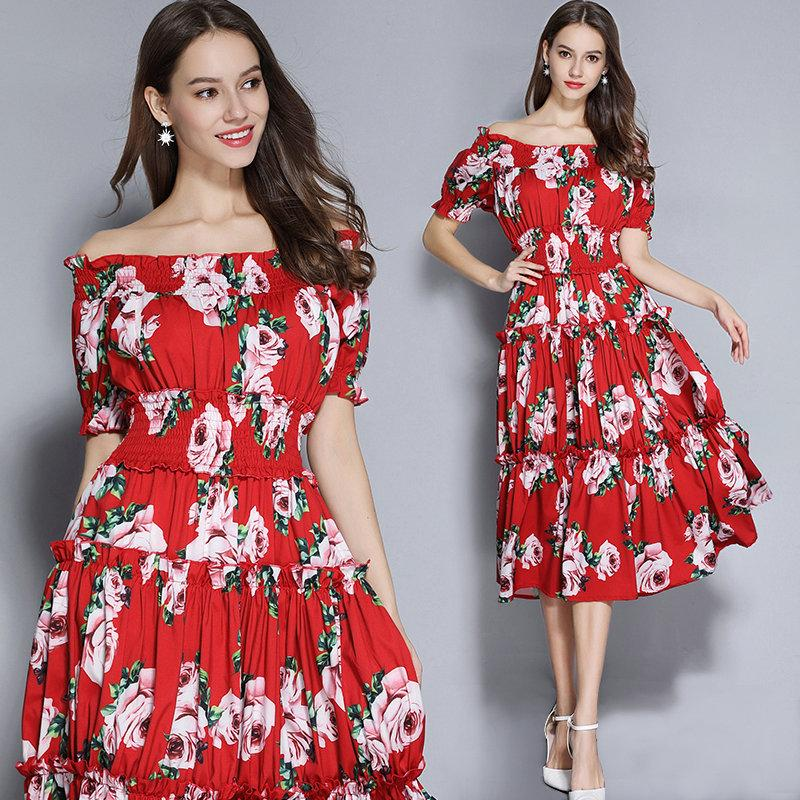 d66fd866731 Off Shoulder Flroal Printedn Womens Dress Fashion Casual Eleastic Waist Dress  2019 Spring Summer Dresses Young Girl Sweet Dresses Dresses For Cocktail ...