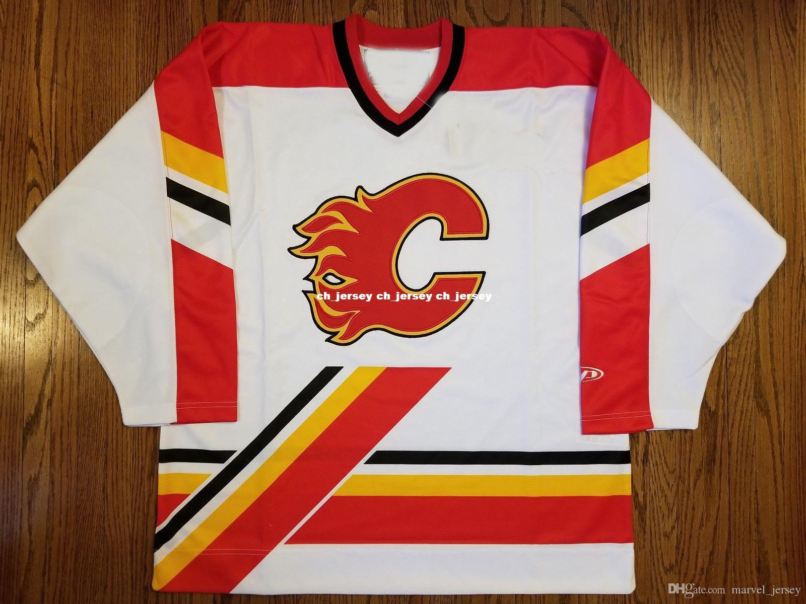 69dead88f 2019 Cheap Custom Calgary Flames Vintage Pro Player Jersey Stitched ...