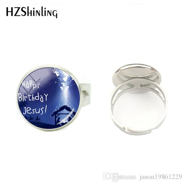 Celebrating The Birth Of Christ Merry Christmas Hand Craft Glass Cabochon Round Ring Jewelry Christmas Gifts