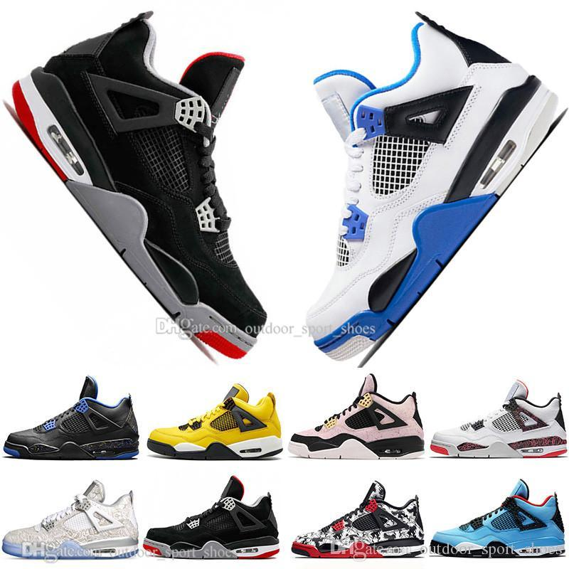 Hot 2019 New Bred 4 4s What The Cactus Jack Laser Wings Mens Basketball Shoes Denim Blue Pale Citron Men Sports Designer Sneakers Eur 36-47