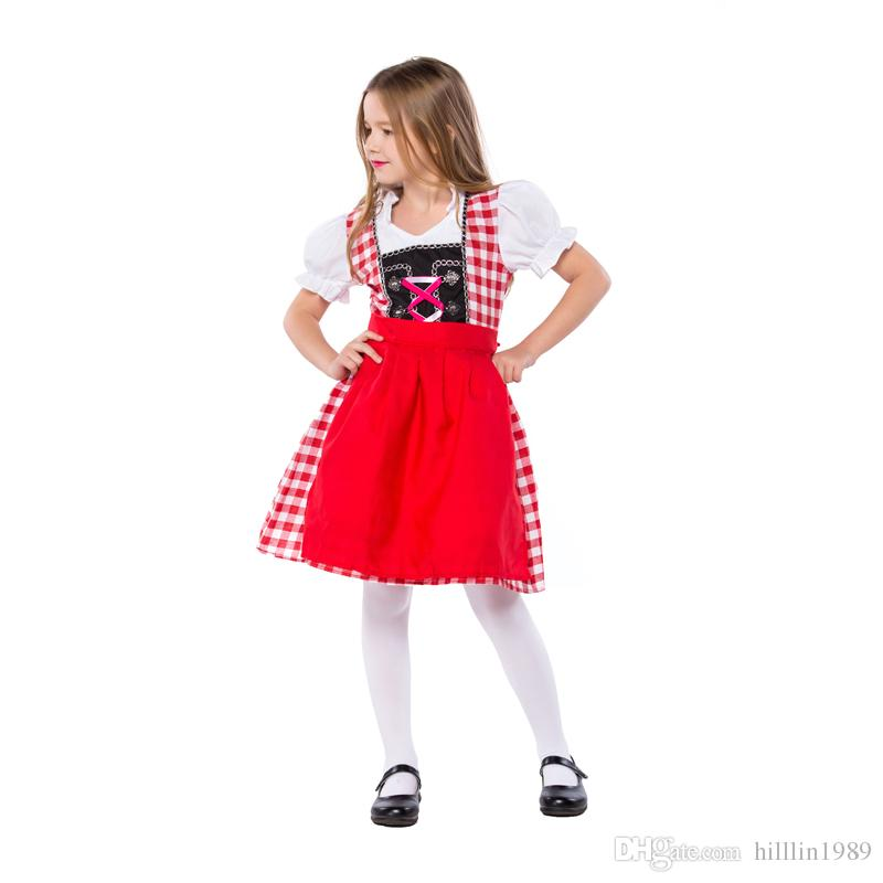 Red Carnival Kid Bavarian Maid Theme Costumes German Beer Girl Costume Children Mardi Gras Short Sleeve Oktoberfest Dresses