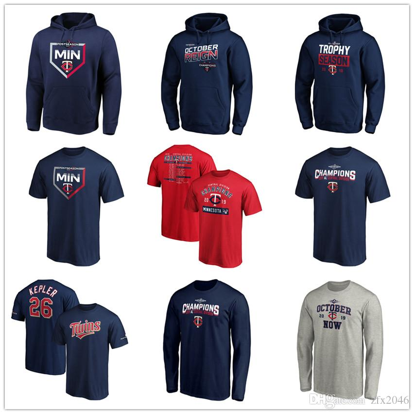 Baseball Jersey Minnesota 26 Max Kepler Twins 2019 AL Central Division Champion T-Shirts Pullover Hoodie Navy Short Sleeve Lange Shirt drucken