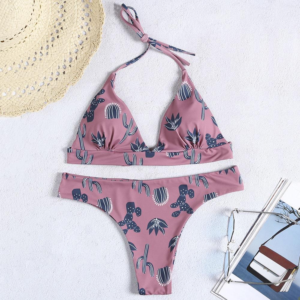 c8ee29dadb 2019 CharMma Women Bikinis Set Sexy Bathing Suits Cactus Printed Adjustable  Halter Straps Low Waist Bikini Set For Swimsuit Swimwear From Vikey16, ...