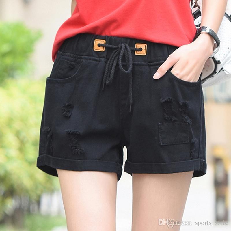 08cc2ccf23 2019 Student Elastic Denim Shorts Female Summer High Waist Hole Wide Legged  Loose Fat MM Fertilizer Plus Size Pants #517976 From Sports_style, ...