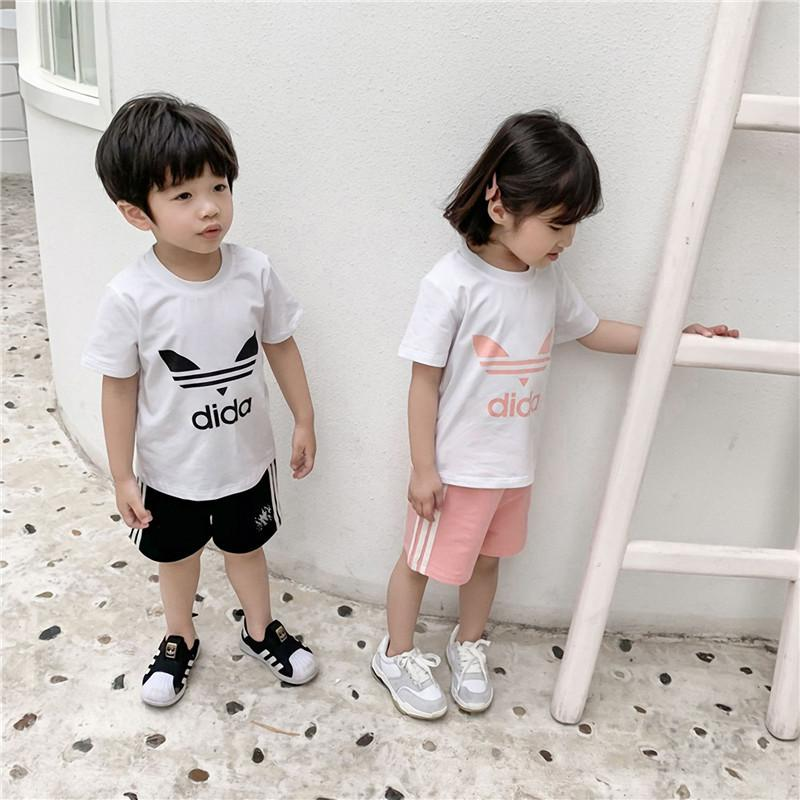 Kids Designer Clothes Set Boys Girls AD Letter T shirt + Shorts Tracksuit 2 Piece Brand Short Sleeve Sportswear Outfit Beach Cloth C52501