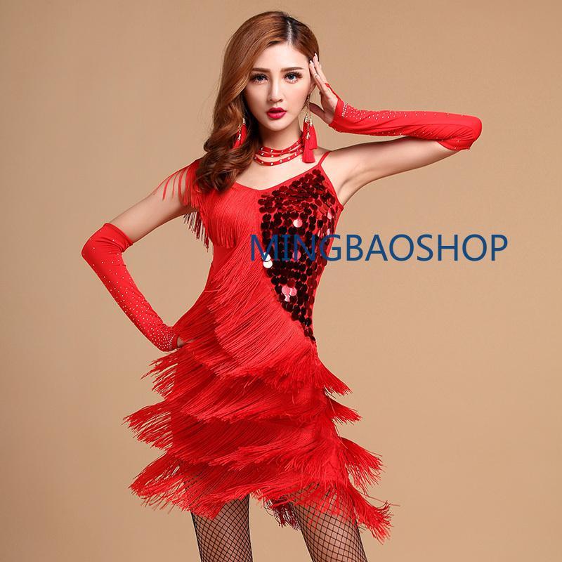0c21c1fc00c26 Acheter Costumes De Danse Latine Rouge Femmes Salsa Dancewear Costume De Danse  Robes Robe Concours De Danse Robes Tango Adultes Franges Doré De $45.92 Du  ...