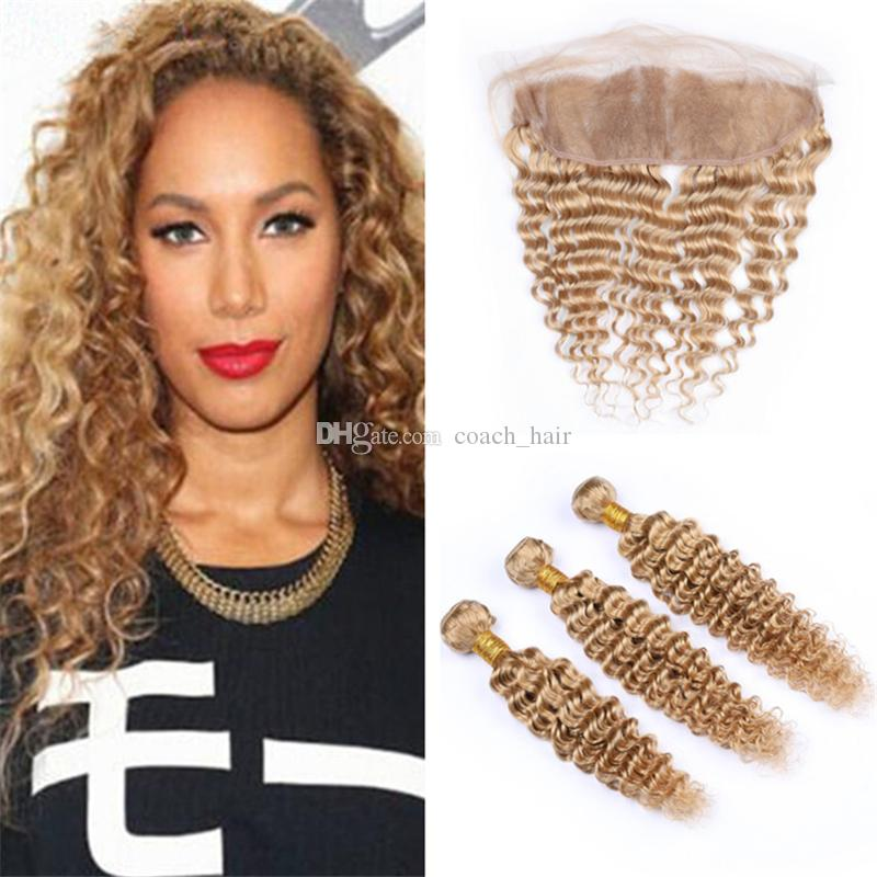 #27 Honey Blonde Deep Curly Hair Bundles with Frontal Lace Closure Deep Wave Light Brown Human Hair Weaves with 13x4 Full Lace Frontals